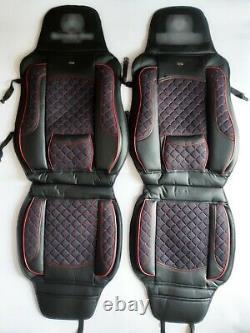 2 x Seat Covers Black with Red Details for Volvo FH FM 2005-2012 Trucks