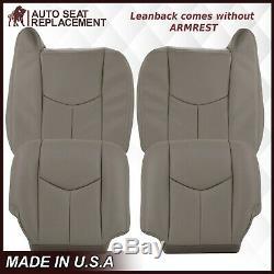 2003 2004 2005 2006 2007 GMC Sierra Work Truck Leather Seat Covers Light Gray