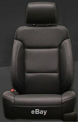 2014-18 Silverado GMC DOUBLE Cab WT KATZKIN Black Leather Seat Covers Kit Bench