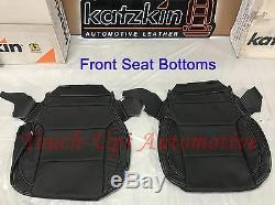 2014-2018 Silverado DOUBLE Cab WT KATZKIN Black Leather Seat Covers Kit Bench
