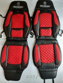 2x Seat Covers Black Red for Scania all series R P G L S series trucks