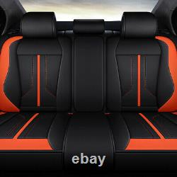 5-Seats Luxury PU Leather Car Truck Seat Cover Front+Rear Universal Updated Set