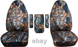 92-01 Ford F-150/F-250/F-350 Truck Captains Chairs Camo Seat Covers +3 Armrest