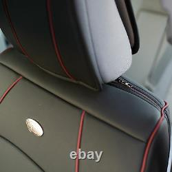 Car SUV Truck Leatherette PU Leather Seat Cushion Covers Front Bucket Black Red