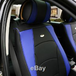 Car SUV Truck Leatherette Seat Cushion Covers 5 Seat Full Set Seats Blue