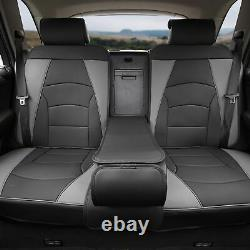 Car SUV Truck Leatherette Seat Cushion Covers Full Set Black Gray