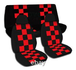 Checkered Car Seat Covers for ANY Car/Truck/Van/SUV/Jeep Full Set Front & Rear