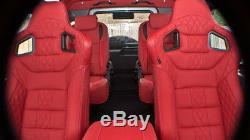 Defender 90 Chelsea Truck Co. Front Sports Seats Red- Harris Tweed Fits 1990