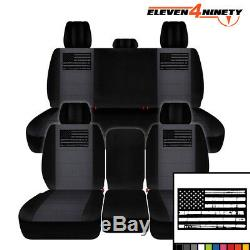 Designcovers Truck Seat Covers Front & Rear Black Charcoal / W Tattered Flag