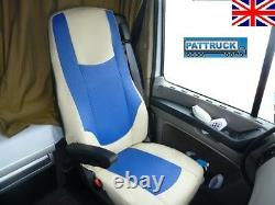 Fit Daf Xf 105 (2012-2013) Truck Eco Leather Seat Covers Beige / Blue
