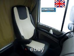 Fit Daf Xf 106 / Cf Euro 6 Pair Of Truck Eco Leather Seat Covers Black / Beige
