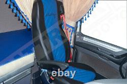 Fit Daf Xf 106 Cf Euro 6 Pair Of Truck Seat Covers Eco Leather Black & Blue
