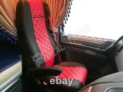 Fit Daf Xf 106 Cf Euro 6 Seat Covers Truck Eco Leather Pair Of Black & Red