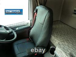 Fit Daf Xf 106 / Cf Euro 6 Truck Eco Leather Seat Covers Pair Of- Black