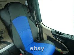 Fit Mercedes Actros Mp4 Truck Eco Leather Seat Covers Pair Of Black And Blue