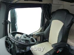Fit Mercedes Actros Mp4 Truck Eco Leather Seat Covers Pair Of Black / Beige