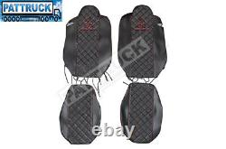 Fit Renault T Range Pair Of Truck Seat Covers Eco Leather Pair Of Black / Red