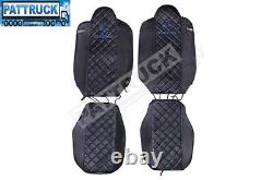 Fit Renault T Range Pair Of Truck Seat Covers Eco Leather Pair Of Black /blue