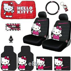 For Honda 10pc Hello Kitty Core Car Truck Seat Covers Mats Accessories Set