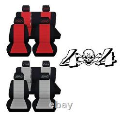 Front Rear Truck Seat Covers Fits 2013-18 Jeep Wrangler Embroidered 4 x 4 Design