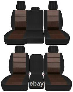 Front+back truck car seat covers black-brown fits Dodge Ram 2011-2018 1500/2500