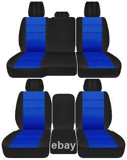 Front+back truck car seat covers black-dark blue fits Dodge Ram11-2018 1500/2500
