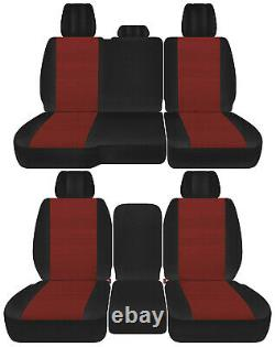 Front+back truck car seat covers black-maroon fits Dodge Ram11-2018 1500/2500