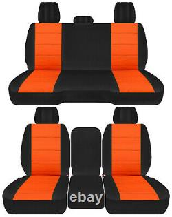 Front+back truck car seat covers black-orange fits Dodge Ram 2011-2018 1500/2500