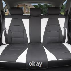 PU Leather Seat Covers Car SUV Truck Black White with Gray Black Floor Mats