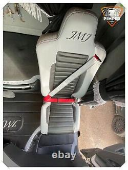 RENAULT T range K-range SEAT COVERS light grey&black ECO LEATHER TRUCK