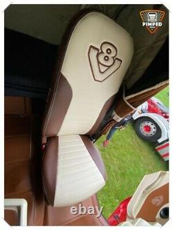 SCANIA 4 V8 Full ECO LEATHER SEAT COVERS brown&beige TRUCK ScaniaV8