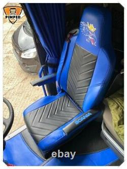 SCANIA R/P/G 2014. Full ECO LEATHER Griffin SEAT COVERS blue & black TRUCK