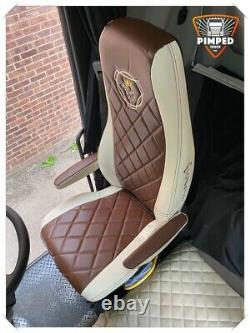 SCANIA R P G S Full ECO LEATHER SEAT COVERS brown&beige TRUCK ScaniaV8