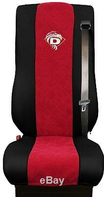 Seat Cover Leatherette-Fabric Truck DAF XF 105 106 SEAT BELTS Black Red