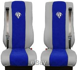 Seat Cover Leatherette Fabric Truck DAF XF 105 106 SEAT BELTS Grey Blue