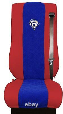 Seat Cover Leatherette-Fabric Truck DAF XF 105 106 SEAT BELTS Red Blue