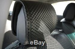 Seat Cover Shift Knob Belt Steering Wheel 100% Black PVC Leather Sedan SUV Truck