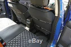 Seat Cover Shift Knob Belt Steering Wheel Black+Orange PVC Leather Sedan Truck 3