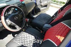 Seat Cover Shift Knob Belt Steering Wheel Black+Red PVC Leather Sedan Truck 3