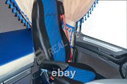 Seat Covers Fit Daf Xf 106 Cf Euro 6 Truck Eco Leather Pair Of Black & Blue