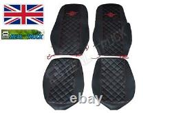 Seat Covers Fit Daf Xf 106 Truck Eco Leather Pair Of Black With Red Stitches