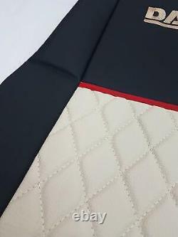 Set of 2 Pcs. Truck Seat Covers BLACK BEIGE DAF 106 Truck 100% Eco Leather