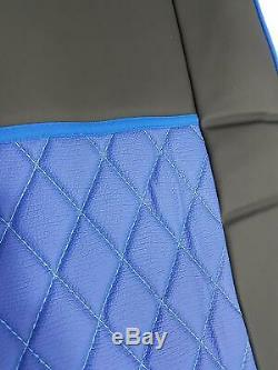 Set of 2 Pcs. Truck Seat Covers BLACK BLUE DAF 106 Truck 100% Eco Leather
