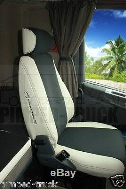 TRUCK SEAT COVERS Beige SCANIA R-series 2005-2013 ECO LEATHER 2 different seats