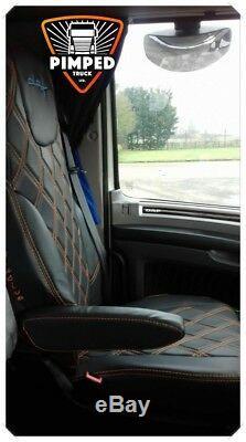 TRUCK SEAT COVERS DAF 105/106/CF EURO6 ECO LEATHER Black&Black Diamonds