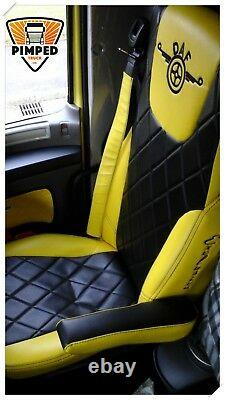 TRUCK SEAT COVERS DAF 105/106 / DAF CF EURO6 ECO LEATHER Yellow&Black