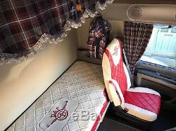 TRUCK SEAT COVERS DAF 106 / DAF CF EURO6 ECO LEATHER SEAT COVERS Beige&Red