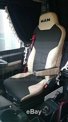 TRUCK SEAT COVERS MAN TGX Beige ECO LEATHER SEAT COVERS