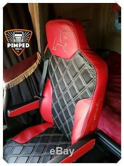 TRUCK SEAT COVERS MAN TGX / TGS ECO LEATHER SEAT COVERS Red&Black