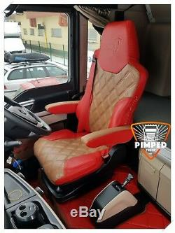 TRUCK SEAT COVERS MAN TGX / TGS ECO LEATHER SEAT COVERS Red&Toffee